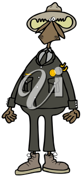 Royalty Free Clipart Image of a Moose Ranger