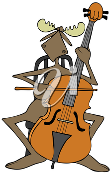 Royalty Free Clipart Image of a Moose Playing a Cello
