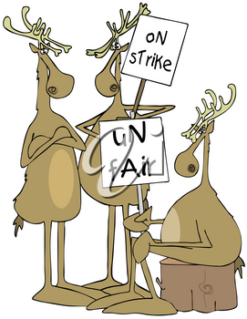 Royalty Free Clipart Image of Reindeer on Strike