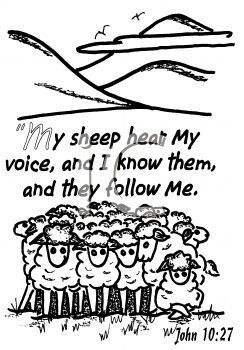 Royalty Free Clipart Image of Sheep Standing Together by Mountains