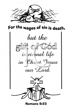 Royalty Free Clipart Image of a Tombstone, Cross and Present