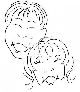 Royalty Free Clipart Image of Two Children Laughing
