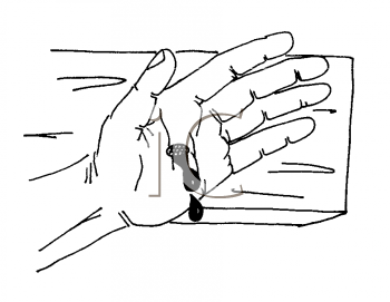 Royalty Free Clipart Image of a Hand Nailed to a Cross