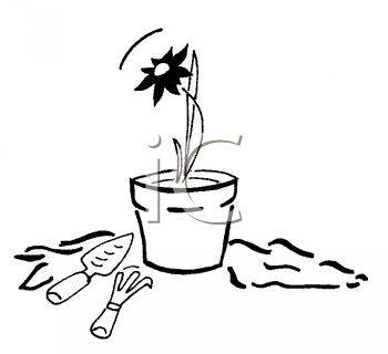 Royalty Free Clipart Image of a Potted Flower