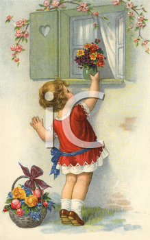Royalty Free Victorian Illustration of a Little Girl Putting a Flower Bouquet on a Window Sill.
