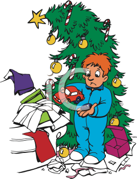 Royalty Free Clipart Image of a Boy Holding a Broken Toy in Front of a Christmas Tree