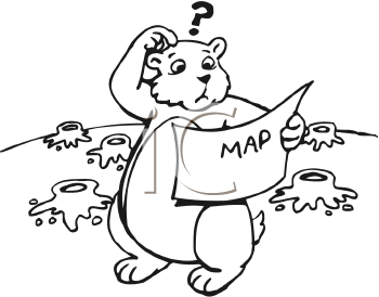 Royalty Free Clipart Image of a Lost Groundhog
