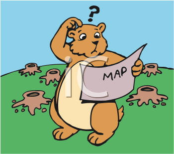 Royalty Free Clipart Image of a Lost Gopher Looking at a Map