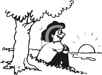 Royalty Free Clipart Image of a Girl Sitting Under a Tree Watching a Sunset