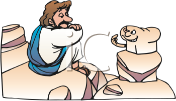 Royalty Free Clipart Image of Jesus Being Tempted By a Loaf of Bread