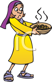 Royalty Free Clipart Image of a Girl With a Bowl of Something Smelly