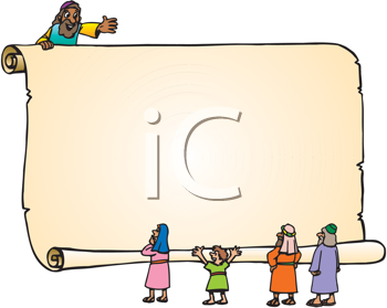 Royalty Free Clipart Image of People With a Big Scroll