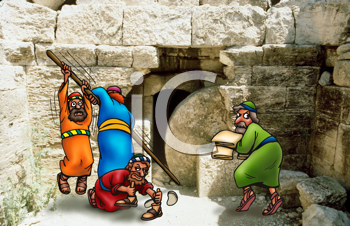 Royalty Free Clipart Image of Men Moving a Stone Away from a Cave