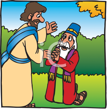 Royalty Free Clipart Image of a Man Begging in Front of Another Man