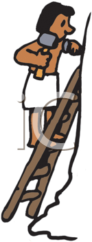 Royalty Free Clipart Image of a Man on a Ladder With a Hammer