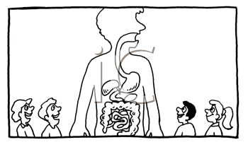 Royalty Free Clipart Image of People Looking at a Large Diagram of Internal Organs