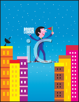 Royalty Free Clipart Image of a Man Walking a Tightrope Between Two Buildings