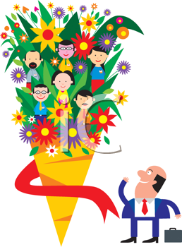 Royalty Free Clipart Image of a Businessman Looking at a Bouquet of People and Flower
