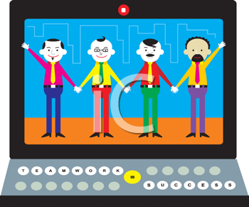 Royalty Free Clipart Image of Four Men on a Computer