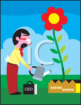 Royalty Free Clipart Image of a Man Watering a Garden