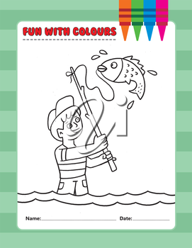 Royalty Free Clipart Image of a Colouring Page of a Boy Fishing