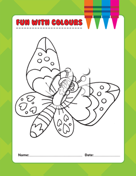 Royalty Free Clipart Image of a Colouring Page of a Butterfly