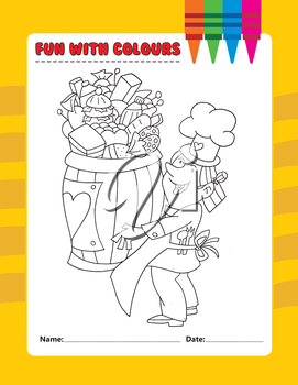 Royalty Free Clipart Image of a Colouring Page of a Chef With Food