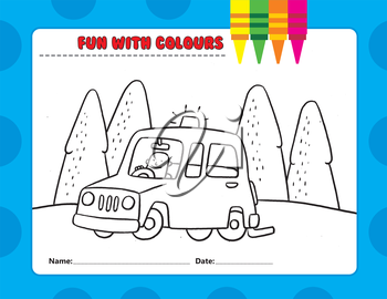 Royalty Free Clipart Image of a Colouring Page of a Man Driving in the Country