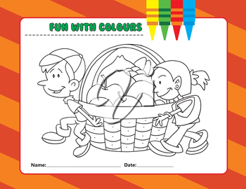 Royalty Free Clipart Image of a Colouring Page of a Children With Apples