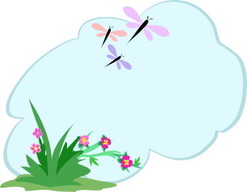 Royalty Free Clipart Image of a Cloud With Dragonflies and Flowers