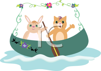 Royalty Free Clipart Image of a Cat and Rabbit in a Canoe