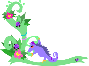 Royalty Free Clipart Image of a Chameleon and Ladybugs