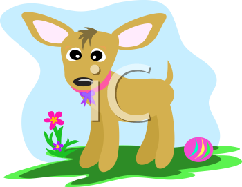 Royalty Free Clipart Image of a Dog with a Ball