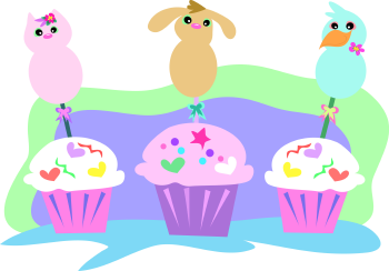 Royalty Free Clipart Image of Cupcakes and Animals