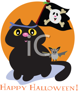 Royalty Free Clipart Image of a Halloween Greeting With a Cat Carrying a Flag With Skull and Crossbones