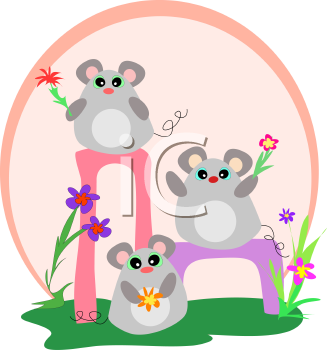 Royalty Free Clipart Image of Mice and Flowers