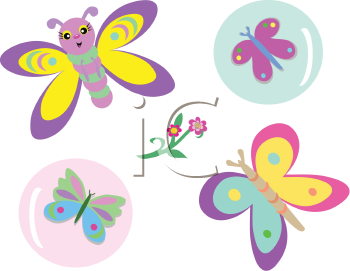 Royalty Free Clipart Image of Cartoon Butterflies and Bubbles
