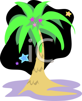 Royalty Free Clipart Image of a Palm Tree at Night