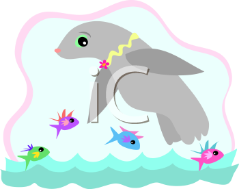 Royalty Free Clipart Image of a Seal and Fish