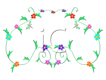 Royalty Free Clipart Image of a Floral Vine Decoration