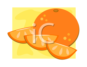 Royalty Free Clipart Image of an Orange with Slices