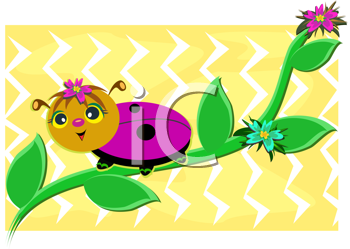 Royalty Free Clipart Image of a Ladybug on a Stem