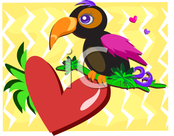 Royalty Free Clipart Image of a Toucan on a Heart Leaf
