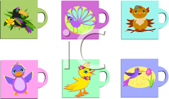 Royalty Free Clipart Image of a Set of Animal Mugs