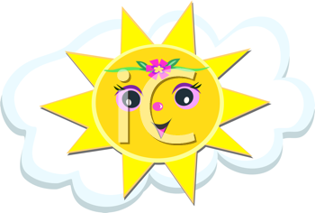 Royalty Free Clipart Image of a Sun on a Cloud