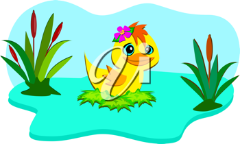 Royalty Free Clipart Image of a Duck in a Marsh