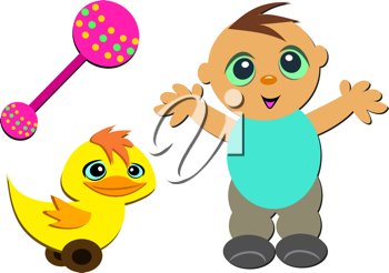 Royalty Free Clipart Image of a Boy With a Duck and Rattle
