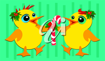 Royalty Free Clipart Image of Two Chicks or Baby Ducks With a Candy Cane