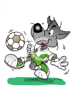 Royalty Free Clipart Image of a Wolf Playing Soccer
