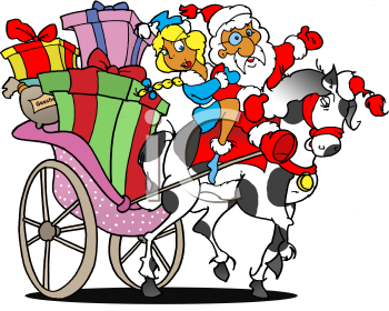 Royalty Free Clipart Image of Santa Clause Riding a Horse